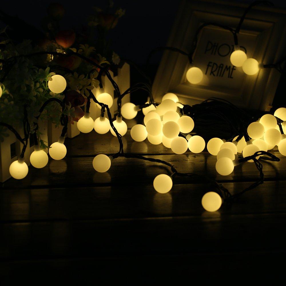 60 LED 10M Cadena Solar de Luces, IP65 Impermeable 8 Modos Luces Decorativas, Guirnaldas Luminosas para Exterior,Interior, Jardines, Casas, Boda, Fiesta de Navidad (Amarillo) Happybuy Directory