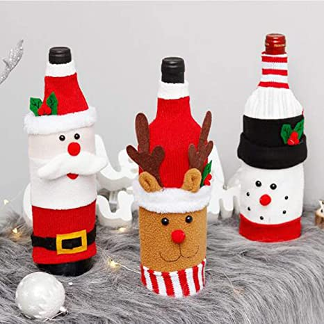Christmas Party Dress Wine Bottle Cover Bag Xmas Festival Party Home Table Decor