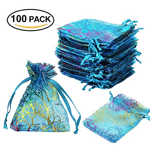 Kbnian 100pcs Organza Drawstring Pouches Jewelry Candy Party Wedding Favor Gift Bags(Blue) - Blue Wedding Favor Tulle