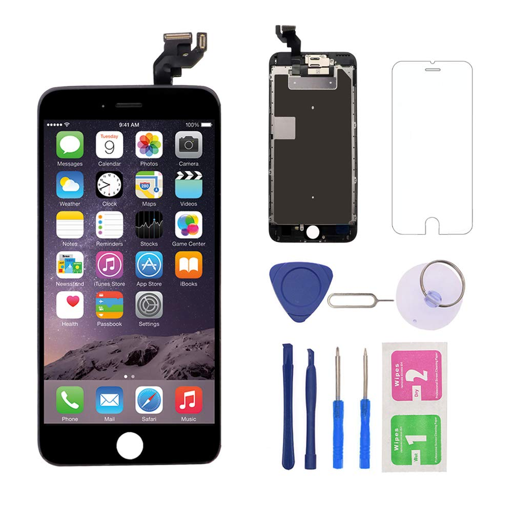 Nroech for iPhone 6S Plus Screen Replacement 5.5'' [Black], 6S Plus 3D Touch LCD Screen Digitizer Frame Full Assembly with Camera - Earpiece - Free Repair Tool Kits-Protector for A1634, A1687, A1699