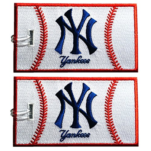 Luggage Tags, New York Yankees, Embroidered, 2 pack, 12 COLORS, NEVER BREAK!