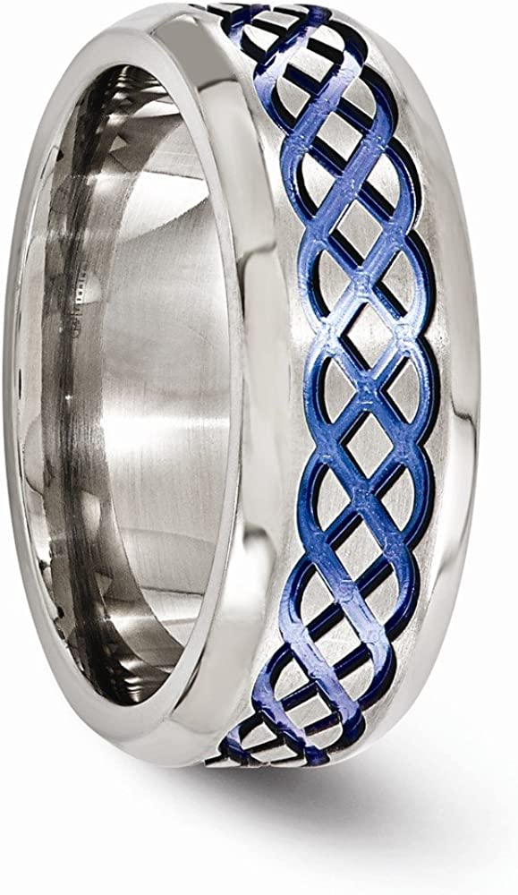 Bridal Wedding Bands Fancy Bands Edward Mirell Titanium Blue Anodized Brushed 8mm Band Size 10.5
