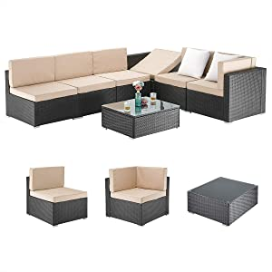 PAMAPIC 7 Pieces Patio Furniture,Outdoor Rattan Sectional Sofa Conversation Set with Tea Table and Washable Cushions, Beige