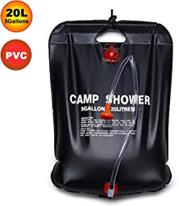ZEUIO Solar Shower Bag, Portable Camping Shower 5 gallons/20L Solar Heating Bag for Outdoor Traveling Hiking Summer Shower with Removable Hose and On-Off Switchable Shower Head