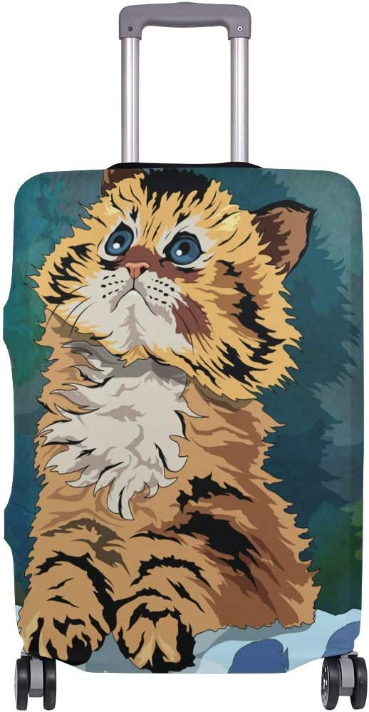 Travel Luggage Cover Oil Painting Cat Suitcase Protector Baggage Case Dustproof Stretchy Fits 29-32 Inch