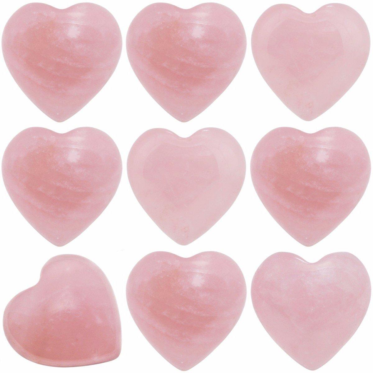 SUNYIK Natural Rose Quartz Pocket Mini Puff Heart Worry Healing Palm Stone Pack of 10(0.5'')