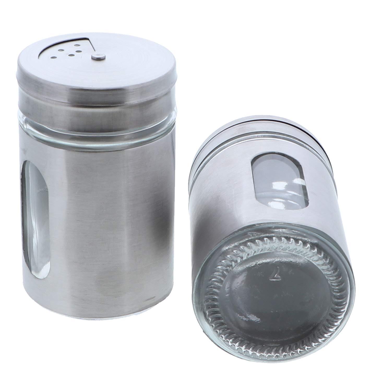 Green Salt Pepper Shakers Retro Spice Jars Glass Set of 2