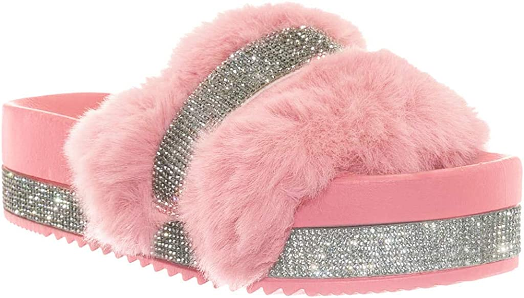 Women Rhinestone Slip On Slippers Slider Ladies Fluffy Fur Flat Platform Sandals