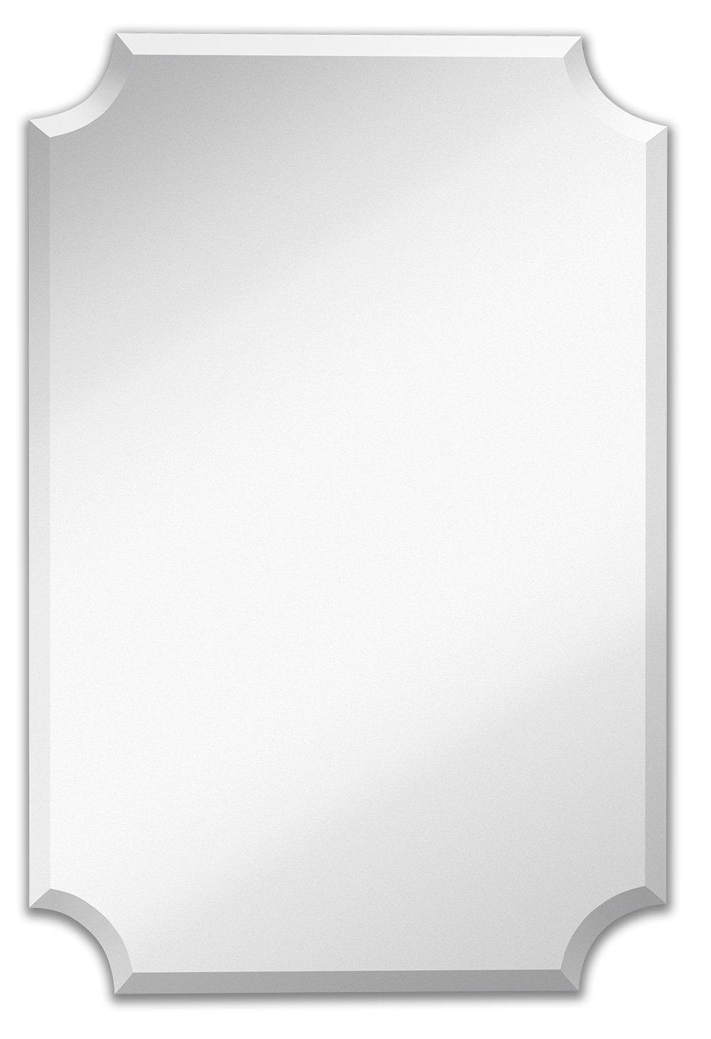 Large Beveled Scalloped Edge Rectangular Wall Mirror | 1 inch Bevel Curved Corners Rectangle Mirrored Glass Panel for Vanity, Bedroom, or Bathroom Hangs Horizontal & Vertical Frameless (24'' x 36'')