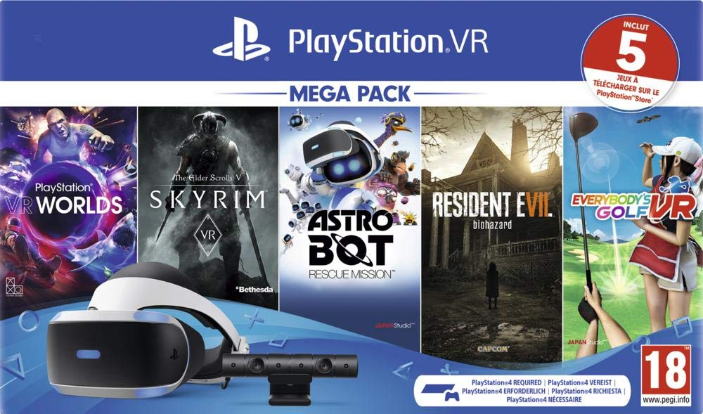 PlayStation VR MK4 Méga Pack 2 - 5 Jeux (VR Worlds + Skyrim + Astrobot + Everybody's Golf + Resident Evil 7)