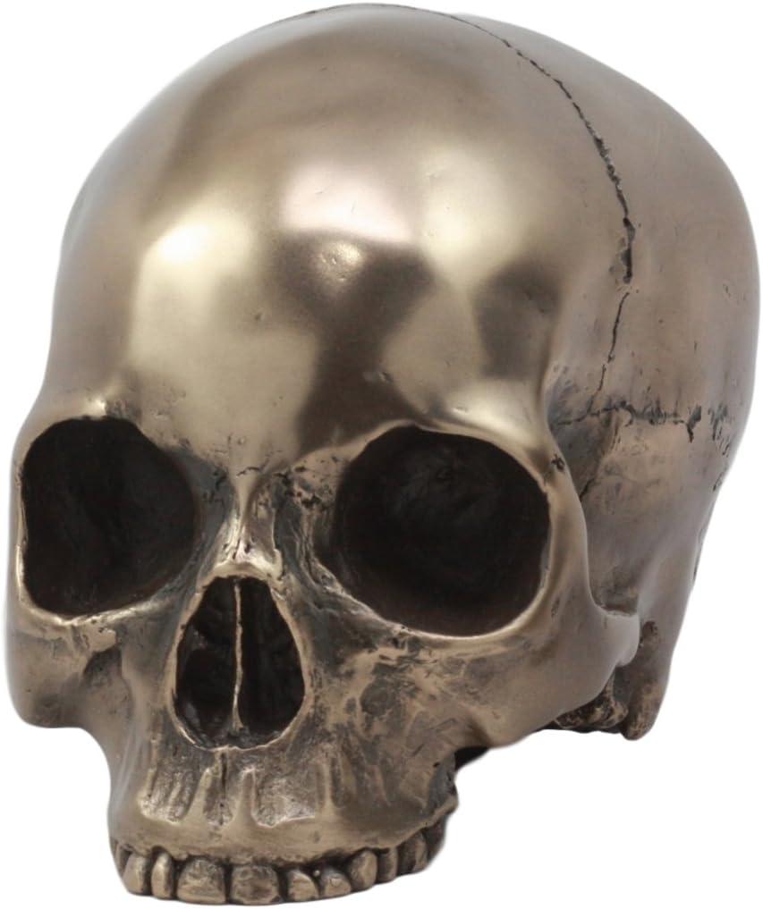 Small Silver Skull Realistic Look Homo Sapien Skeleton Head Figurine Statue