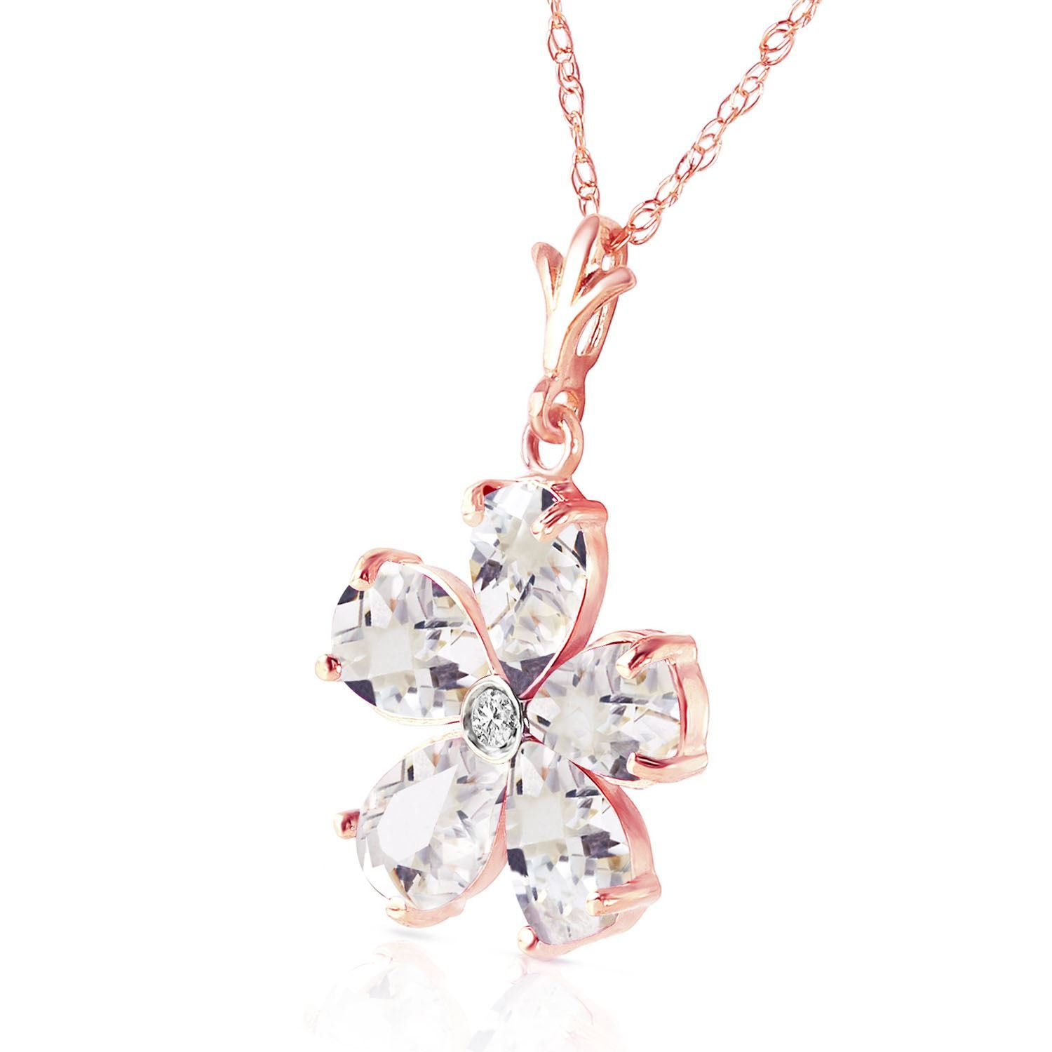 ALARRI 14K Solid Rose Gold Necklace w// Natural Rose Topaz /& Diamond with 22 Inch Chain Length