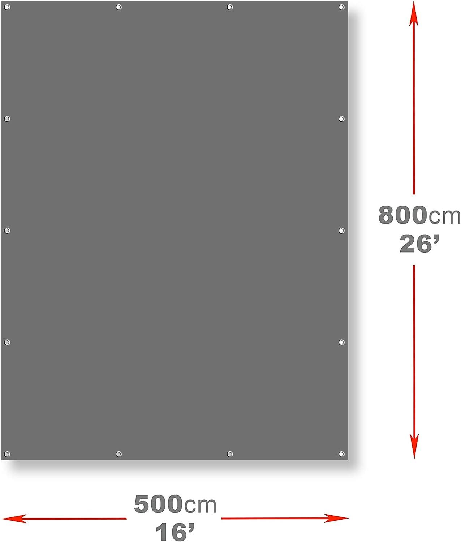 m 2.85 x 2.85 || 9.8 x 9.8 Tarpaulin Strengthened Waterproof Heavy Duty Grey Tarp Sheet Premium Quality Cover Made of 200gram//sm Reinforcing Mesh