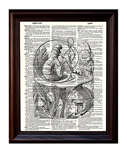 Dictionary Art Print - Alice and the Caterpillar - Printed on Recycled Vintage Dictionary Paper - 8x11 - Mixed Media Poster on Vintage Dictionary Page