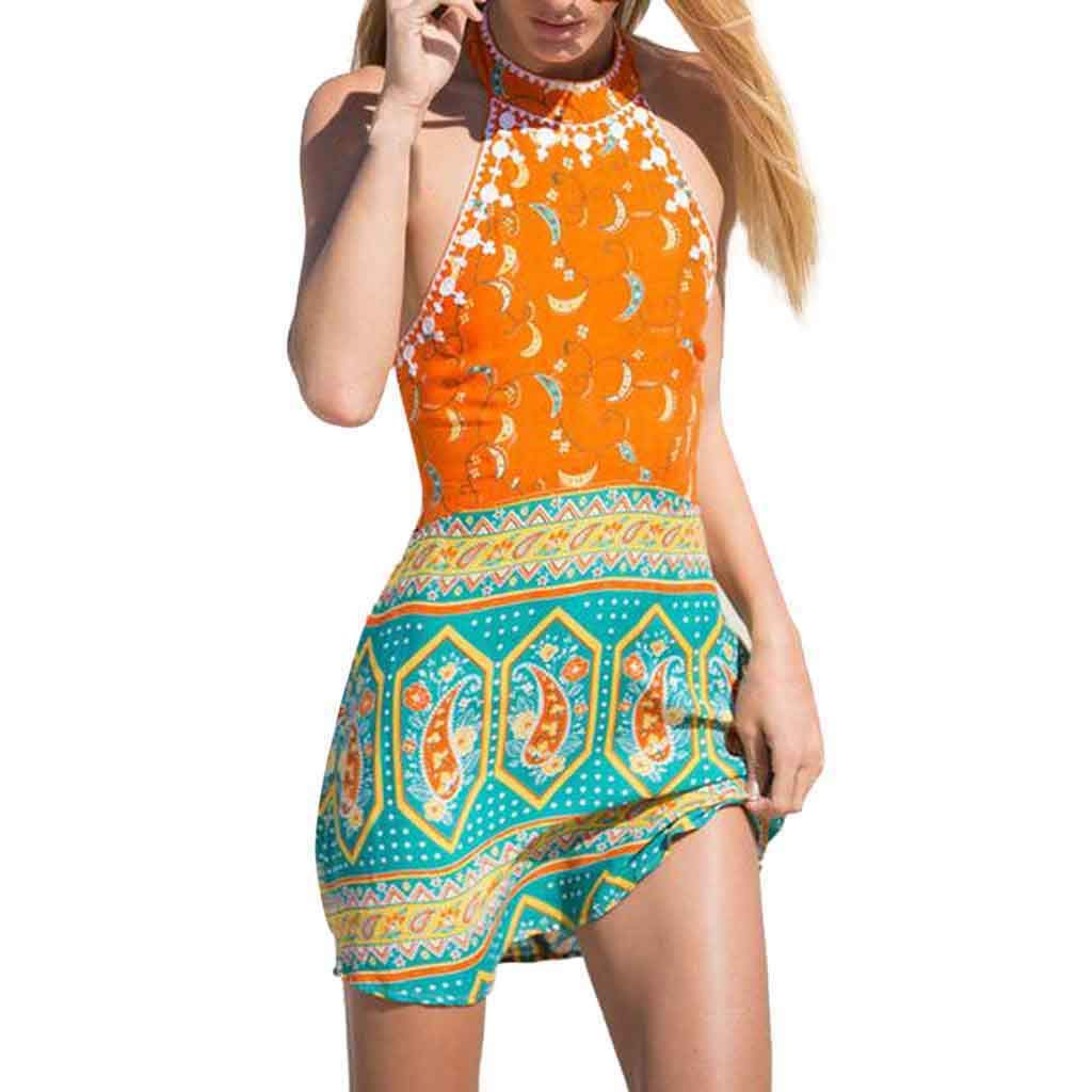 Alangbudu Women's Sexy Summer Halter Neck Backless Floral Print Sleeveless Casual A-Line Mini Dress Beachwear Sky Blue