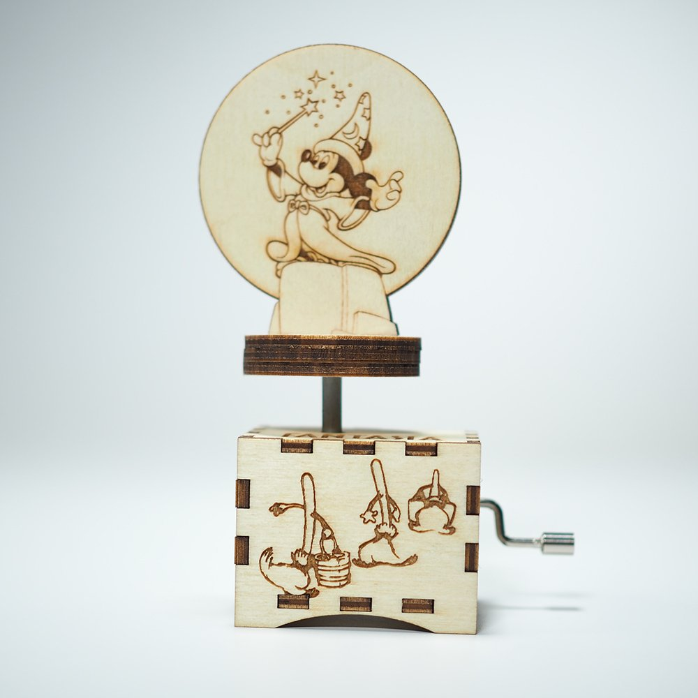 Fantasia Music Box - The Sorcerer's Apprentice - Laser cut and laser engraved wood music box. Perfect gift, memorabilia, collectible