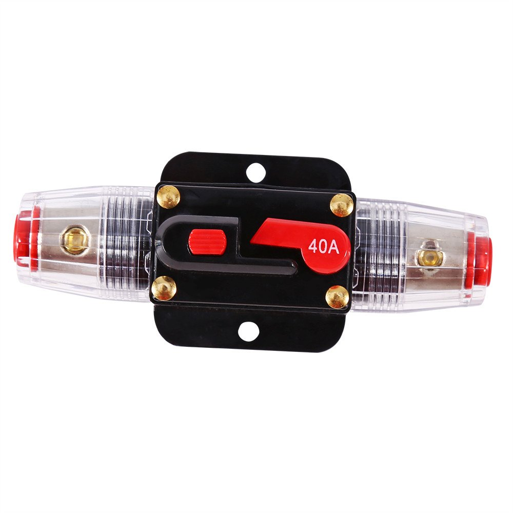 12V-24V DC 40A Car Audio Inline Circuit Breaker Reset Fuse Holder for Stereo Switch System Protection (40A)