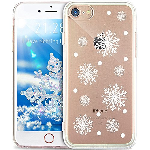 iPhone 8 Case,iPhone 7 Case,ikasus Ultra Thin Soft TPU Case,Christmas Snowflake Series,Soft Silicone Rubber Bumper Case,Crystal Clear Soft Floral Silicone Back Cover for iPhone 8/7,#1