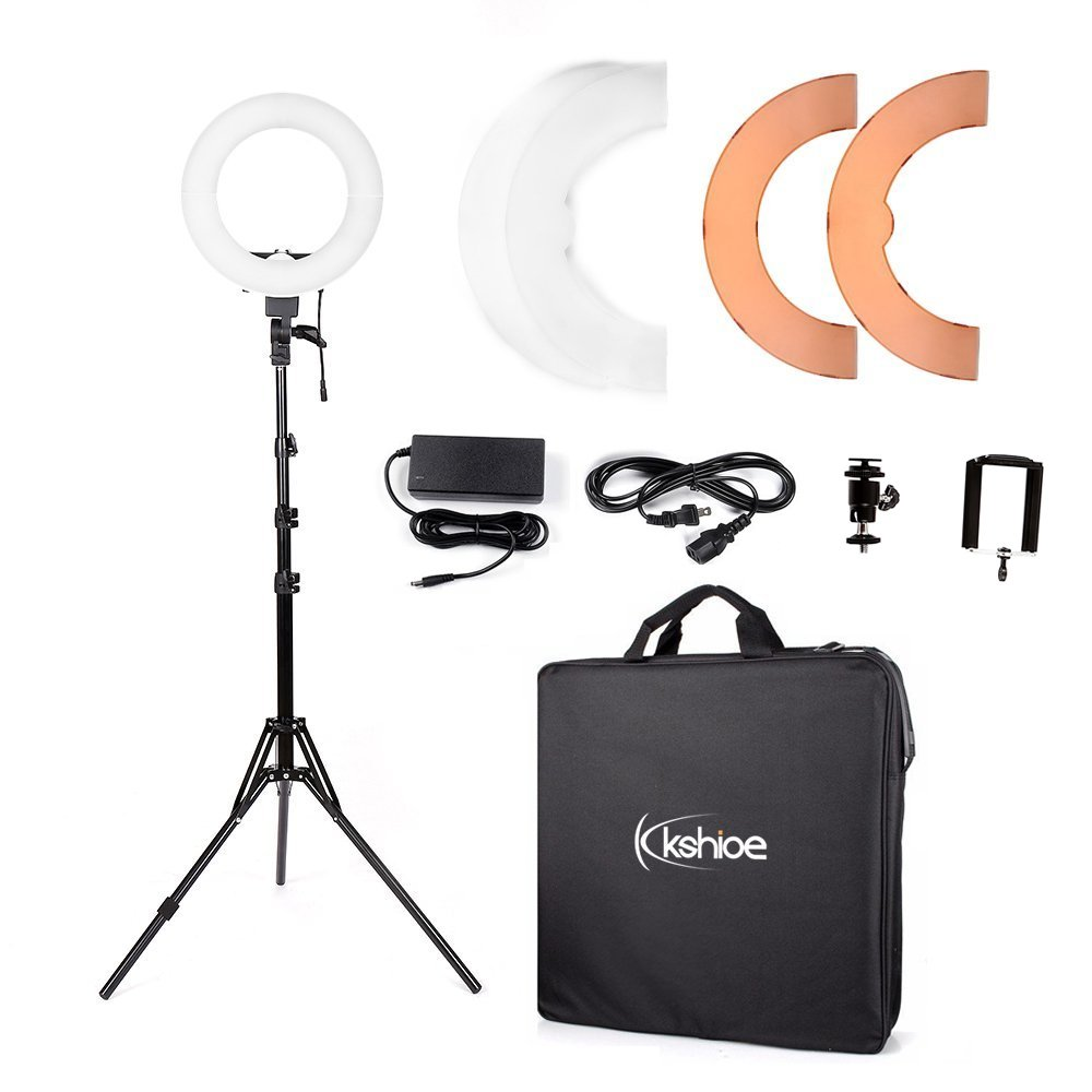 Kshioe 14'' Outer 12'' Inner Dimmable Led Ring Light, Continuous Lighting Kit Photography Photo Studio Light for Makeup, Camera Smartphone YouTube Video Shooting (12'' Basic Light (with Stand))