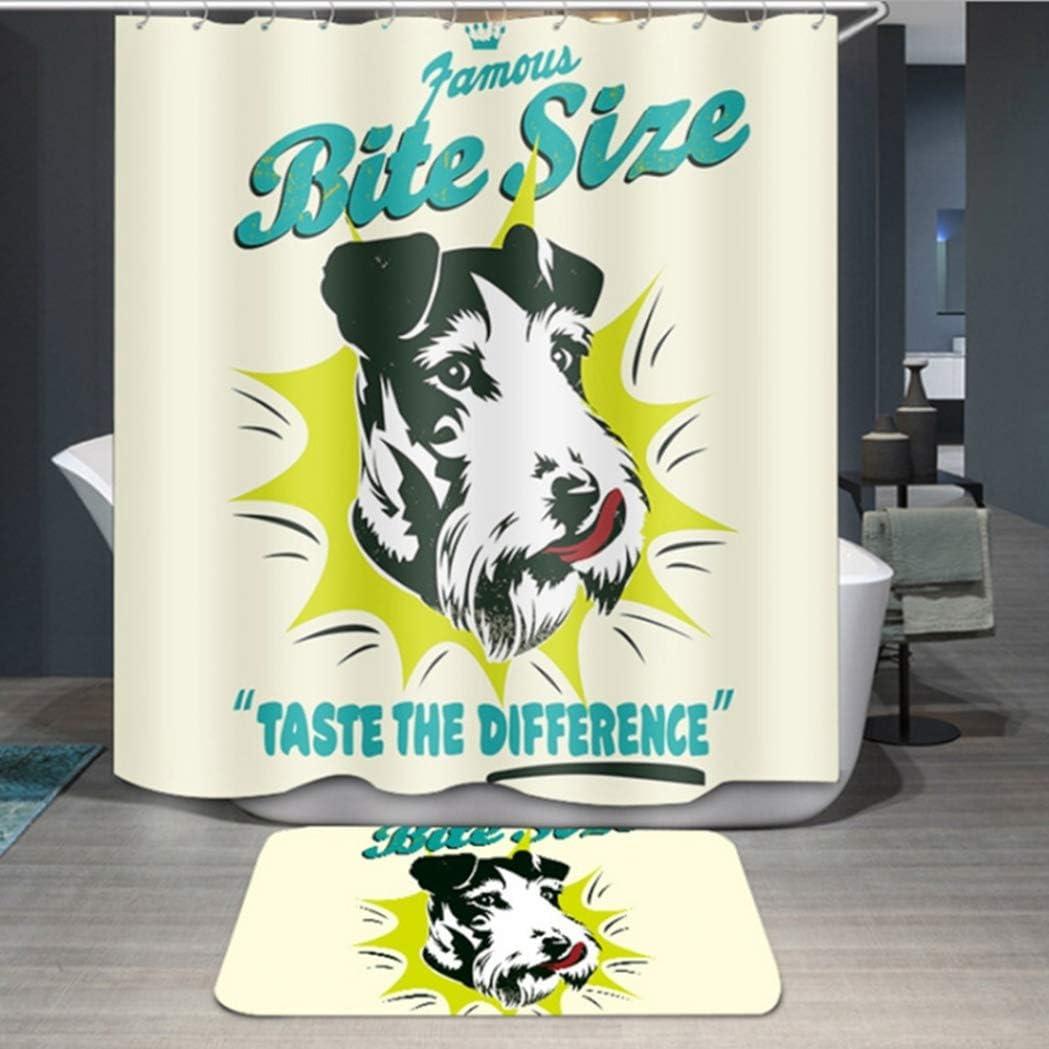 HSENA Cortina de Ducha Lindo Perro Cortinas de ba/ño Repelente al Agua Poli/éster antimoho Cortinas de ba/ño Decorativas con Ganchos Lavable