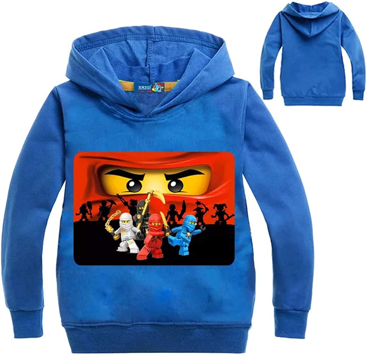 fashion 1938 Boys Girls Long Sleeve Hoodies-Unisex Cartoon Pullover Hooded Tops for Kids 2T-18