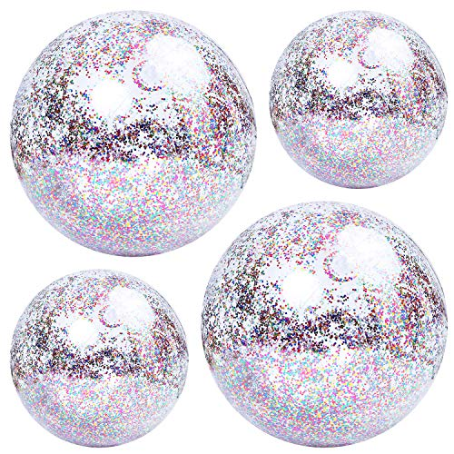 Elcoho 4 Pack Glitter Beach Ball Confetti Parties Beach Balls Pool Water Toys for Summer Parties