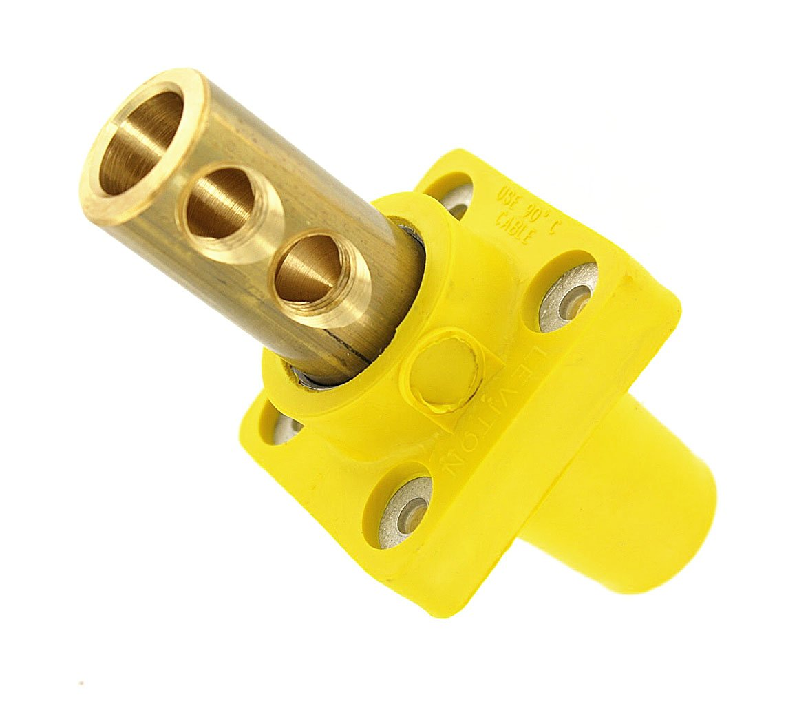 Leviton 16R22-UY 16-Series Taper Nose, 90°, Female Panel Receptacle, Cam-Type Connector, Yellow