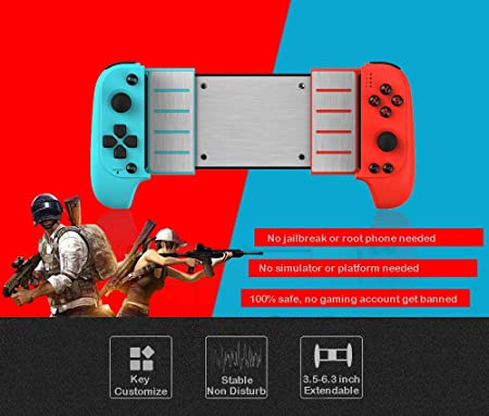 Megadream Mobile Game Controller, Wireless Key Mapping Gaming Controller  Telescopic Gamepad Joystick Compatible with PUBG Fotnite Shooting Racing