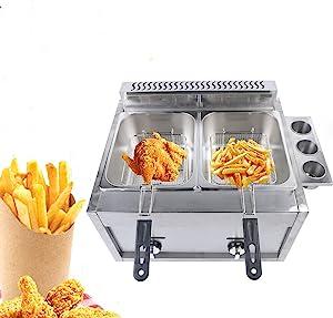 Commercial Deep Fryer Stainless Steel Countertop LPG Gas Fryer Deep Fryer 6L Dual Tank Chicken Chips Fryer 18000 btu/hr for French Fries Restaurant Home Kitchen
