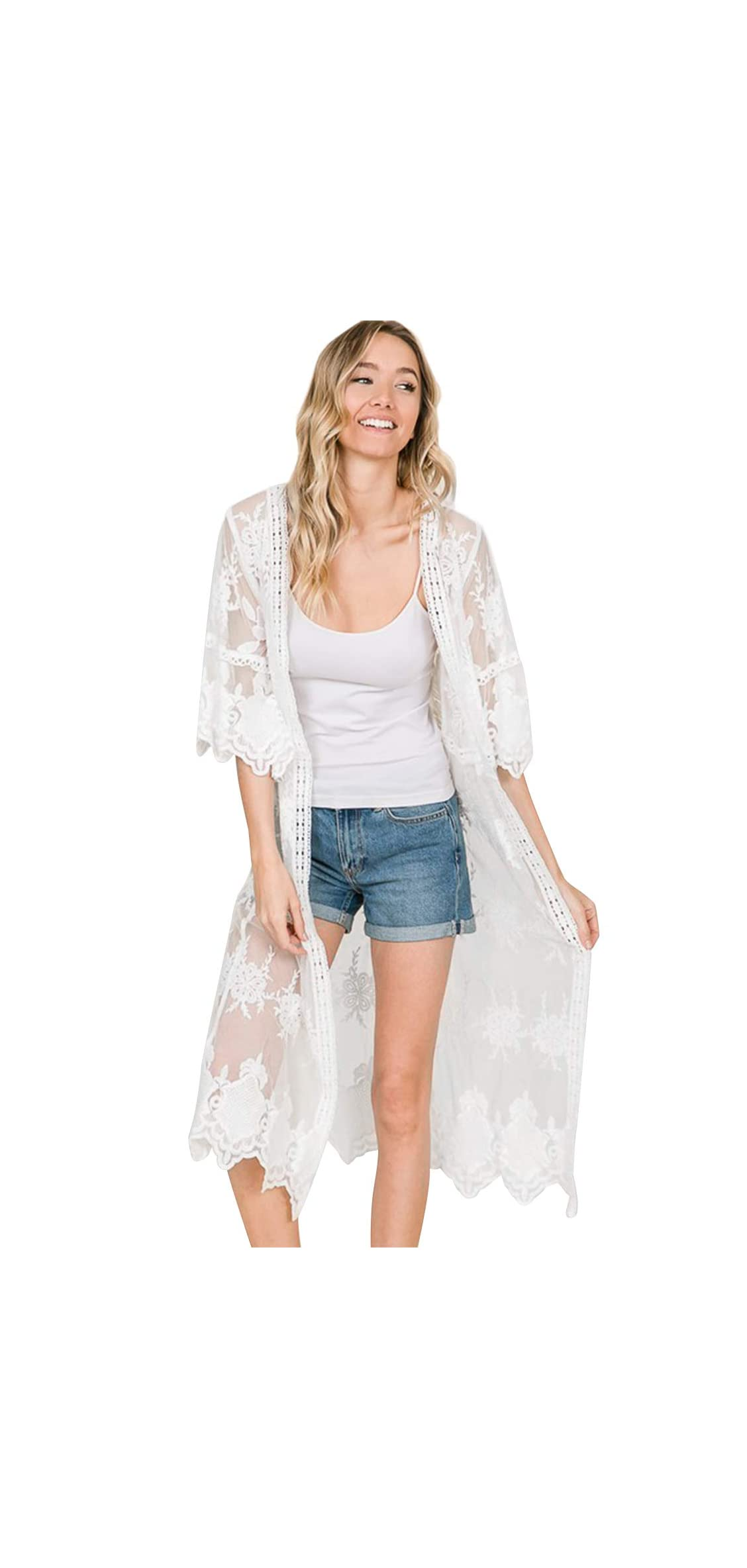 Womens Lace Flower Embroidered Loose Half Sleeves Long