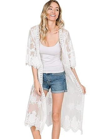 c67ff251518 Anna-Kaci Womens Long Embroidered Lace Kimono Cardigan with Half Sleeves