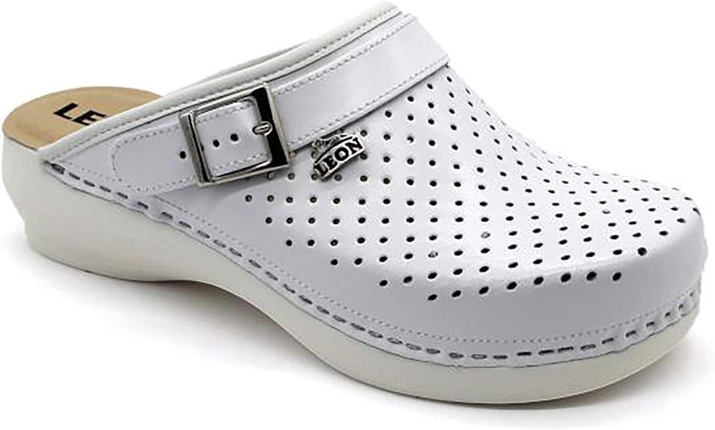 Leon PU101 Zuecos Zapatos Zapatillas de Cuero Para Mujer