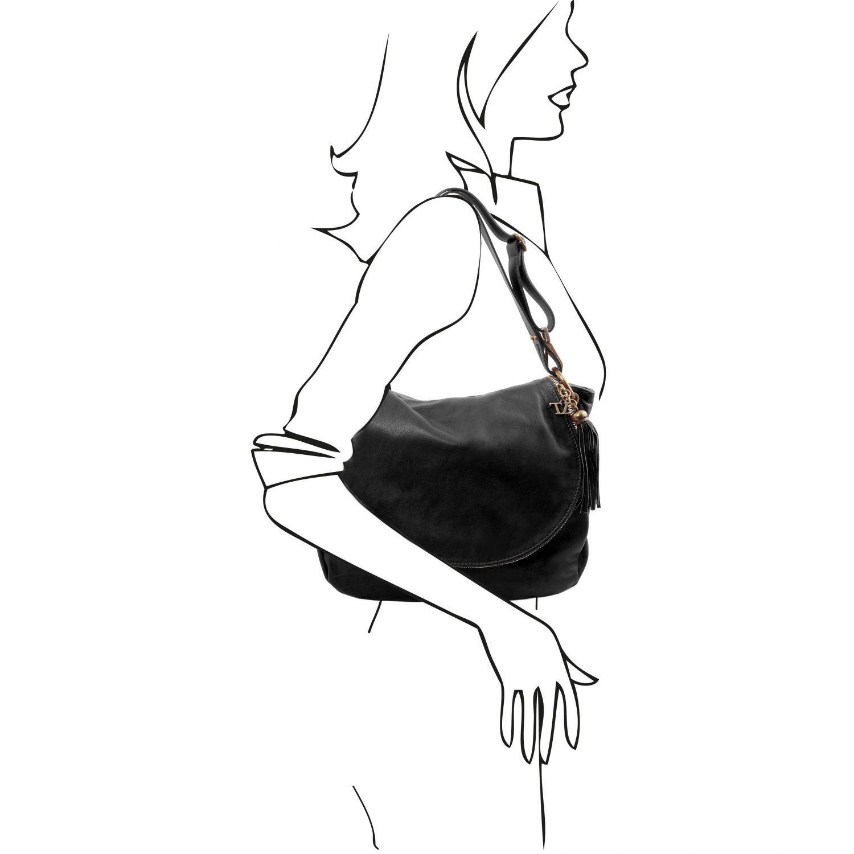 Tuscany Leather - TL Bag - Soft leather shoulder bag with tassel detail  Black - TL141110 2  Amazon.co.uk  Luggage 9ee0686428e37
