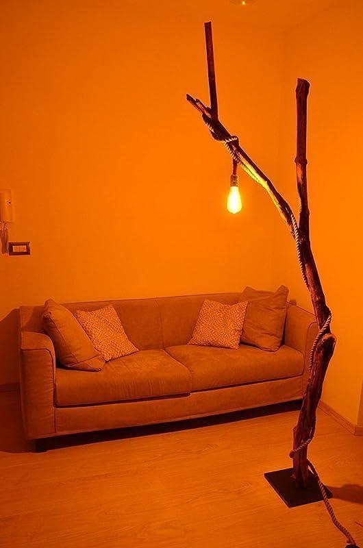 Lámpara de pie en madera moderna natural con tronco de árbol ...