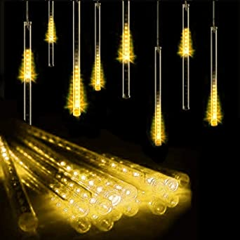 DINOWIN Meteoros Lluvia Luces,360LEDs Tubo de Luces Solar Luces Jardín Impermeable Guirnalda de Luzs,Cadena para Fiesta de Boda de Decoración del árbol de Navidad (Calentar): Amazon.es: Iluminación