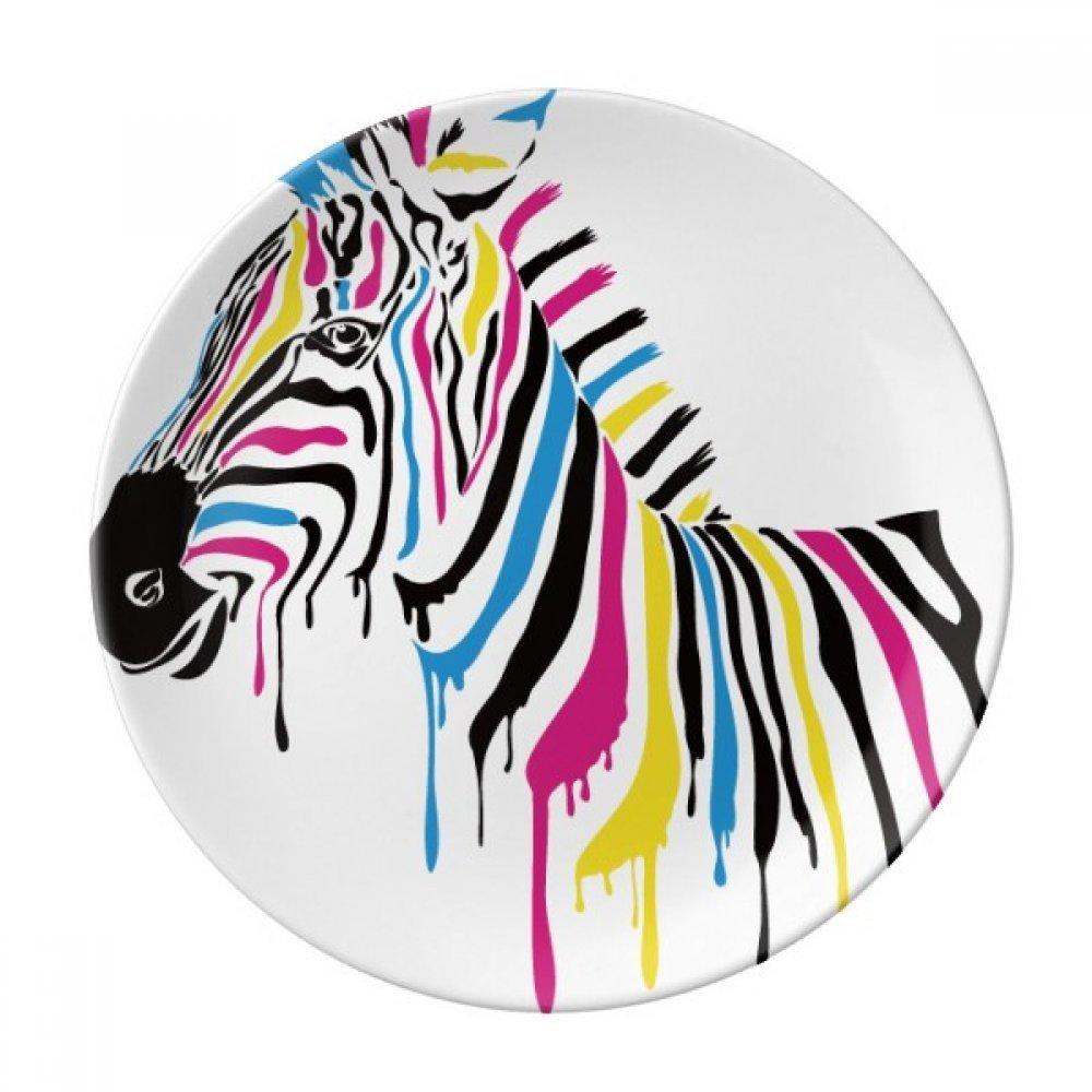 Zebra Animal Rainbow Color Dessert Plate Decorative Porcelain 8 inch Dinner Home