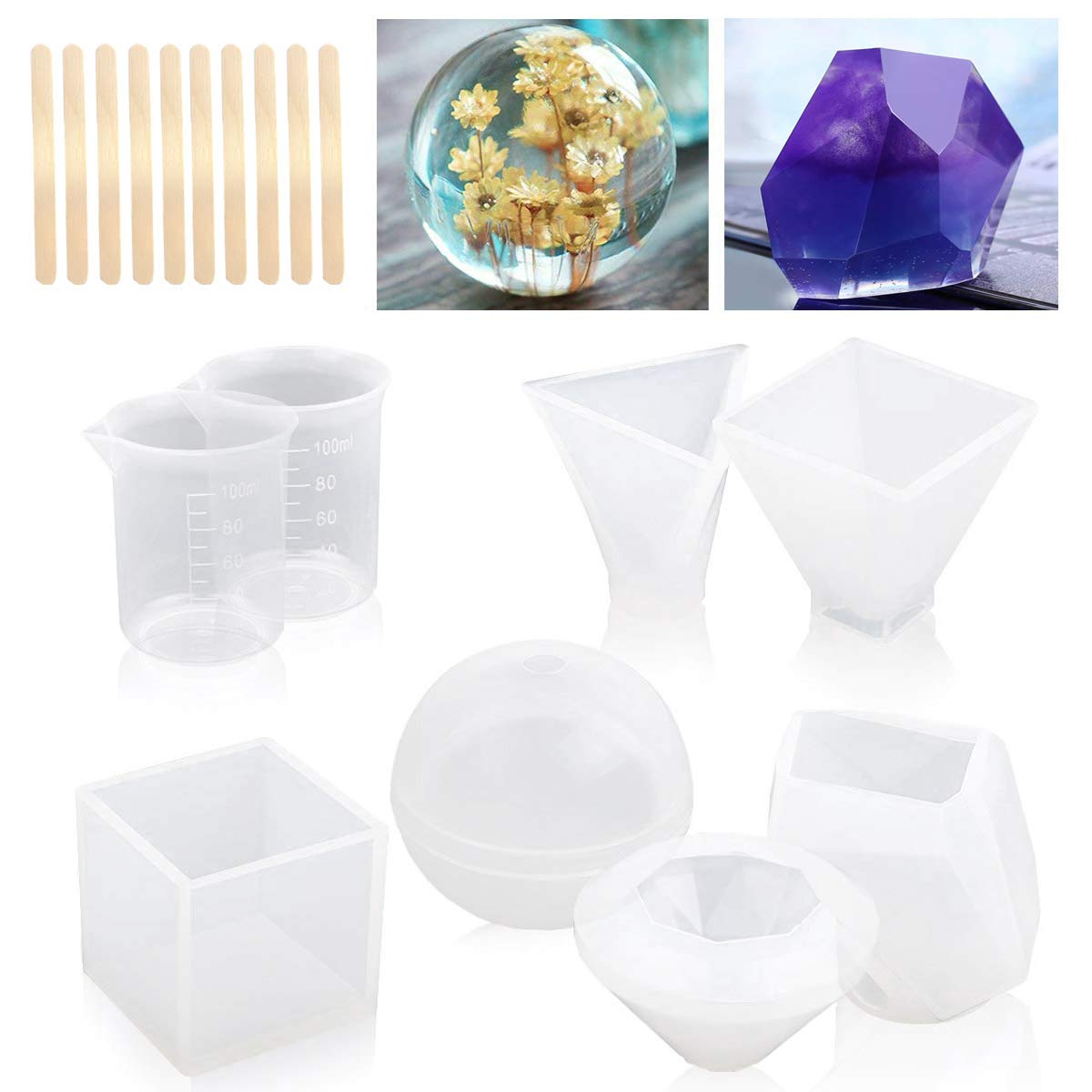 MSDADA Resin Casting Molds with Manual,Jewelry Making DIY Craft, 6 Pack,Including Spherical, Cubic, Diamond, Triangular Pyramid,Pyramid,Stone Shape Mold, Measurement Cups,Wood Sticks Master-Ed