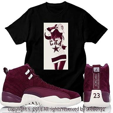 ad9c82a366ae Custom T Shirt Air Jordan XII Retro 12 Bordeaux Sail White JD 12-7-6 at  Amazon Men s Clothing store