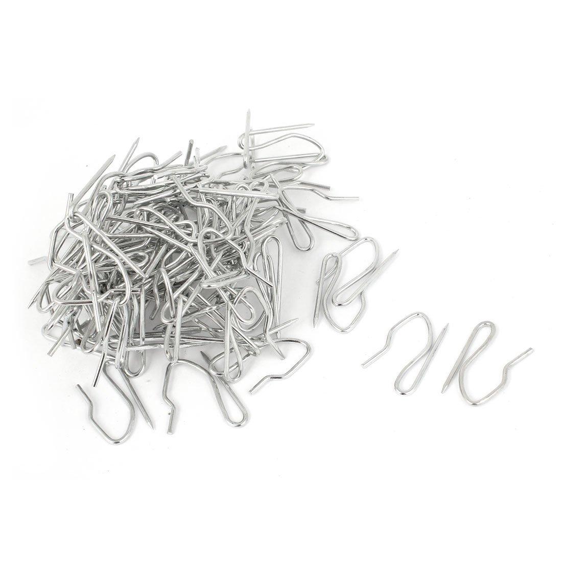 Lot de 50 crochets argentés en métal pour bande de draperie, de rideau, crochet en forme de hameçon Sourcingmap a14121900ux0407