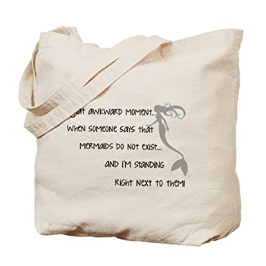 Amazon.com: CafePress - A Real Mermaid - Natural Canvas Tote Bag ...