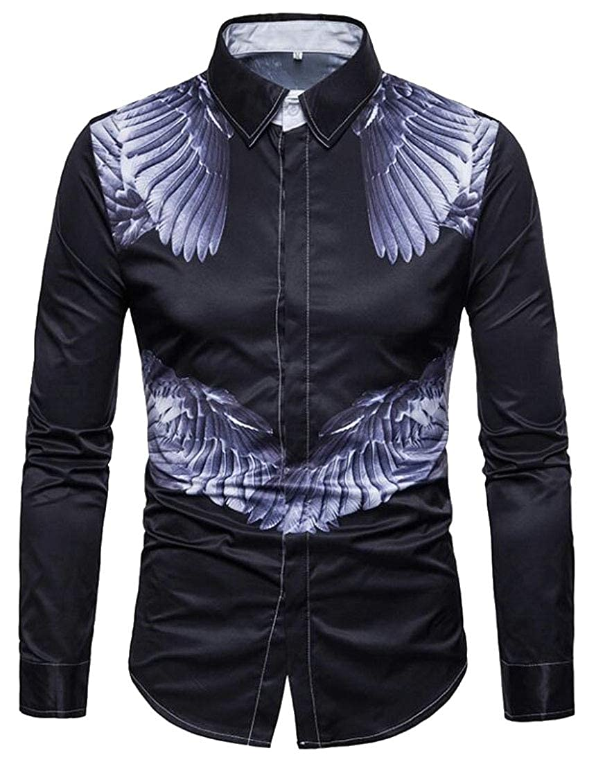 YYear Mens Casual Slim Fit Button Down Feather Print Button Up Dress Shirt