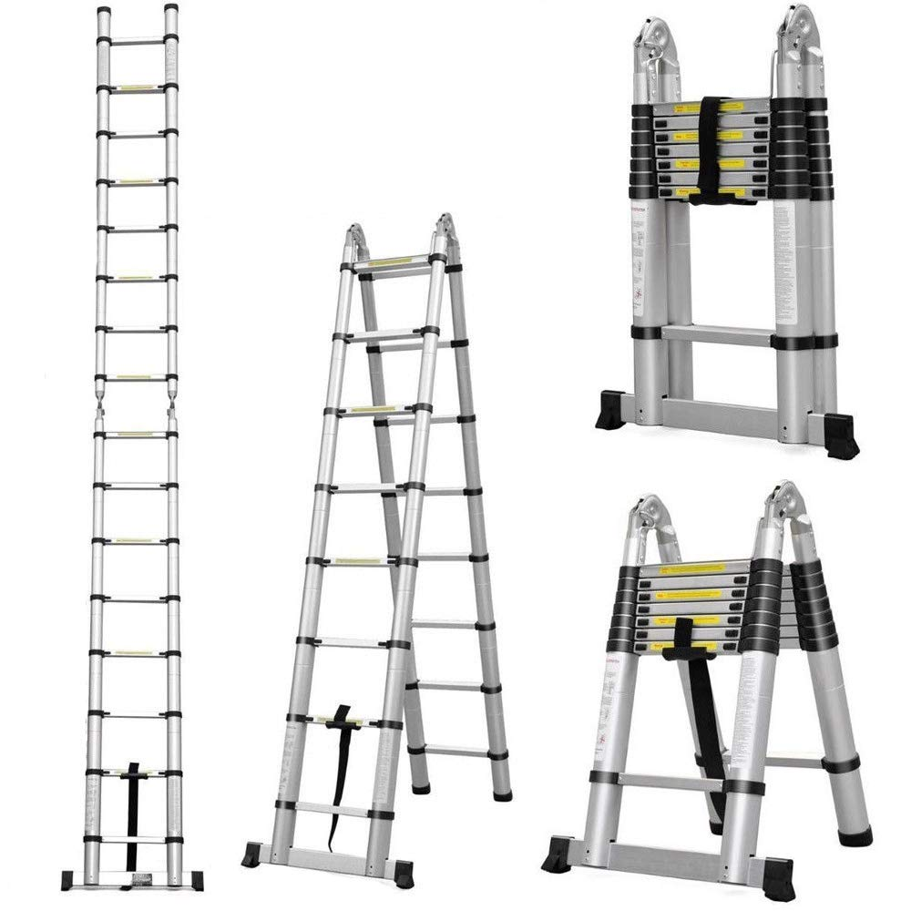 14-in-1 4x4 Aluminium Multi Purpose Folding Extension Ladder 4.7M 15.5FT Heavy Duty Combination Step 1 Painting Tray Manufactured to EN131 Up to 330lbs/150kg ZanGe Factory