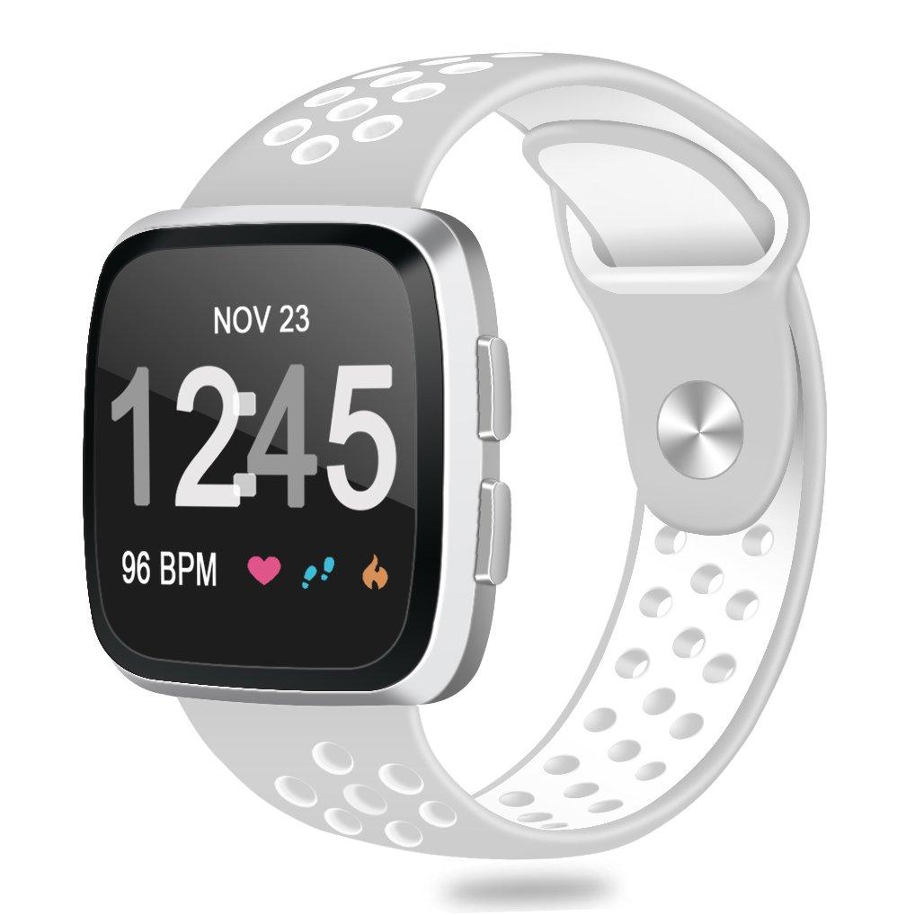 For Fitbit ALTAアルタHR、帯、Humenn交換用ミラネーゼループステンレススチールメタルバンドFitbit ALTAアルタHR / B07CKT2BS4 Small #,Gray/White #,Gray/White Small