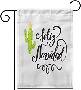 "Awowee 12""x18"" Garden Flag Merry Christmas Happy Cactus in Garland Cute Label Sign Outdoor Home Decor Double Sided Yard Flags Banner for Patio Lawn"