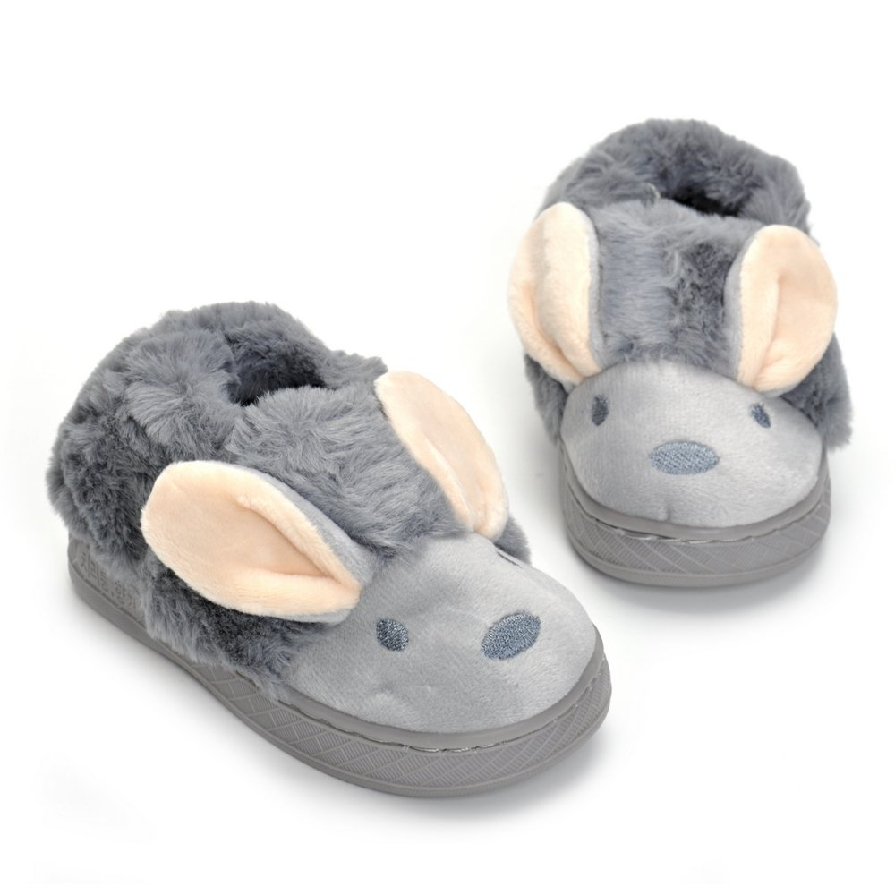 Toddler Girls Boys Gray Bunny Slippers Cartoon Cute Rabbit Winter Warm Plush Fur Shoes