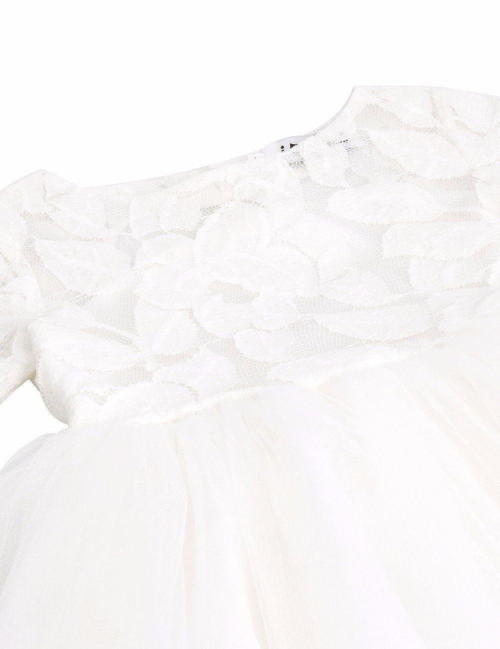 IEFIEL Robe de Mariage Demoiselle Fille Tutu Robe de Soir/ée Blanche Manches Courtes Coeur Dentelle Princess Enfant Robe 2-10 Ans