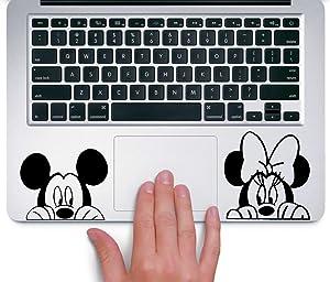 Ewdsqs Mickey and Minnie Peeking Up Disney - Trackpad Apple MacBook Laptop Vinyl Sticker Decal
