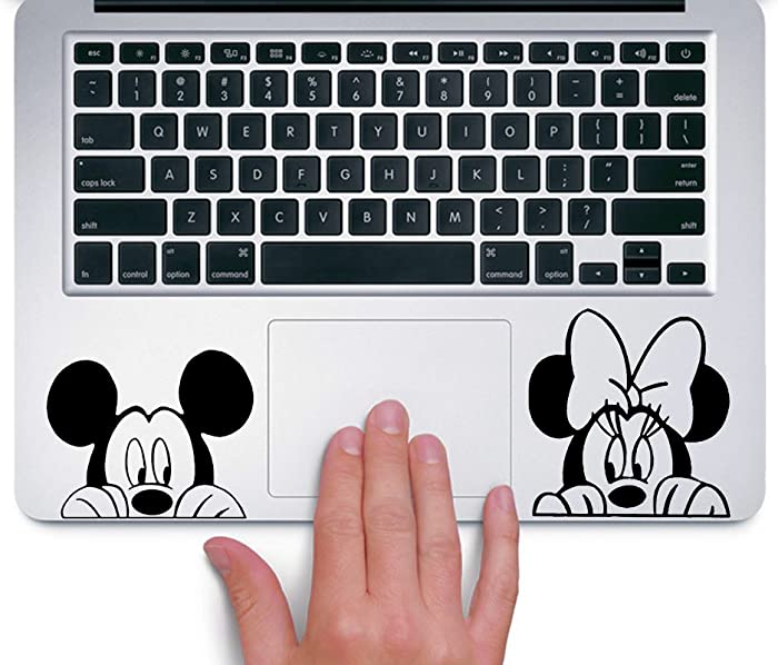 Ewdsqs Mickey and Minnie Peeking Up Disney - Trackpad Apple MacBook Laptop Vinyl Sticker Decal
