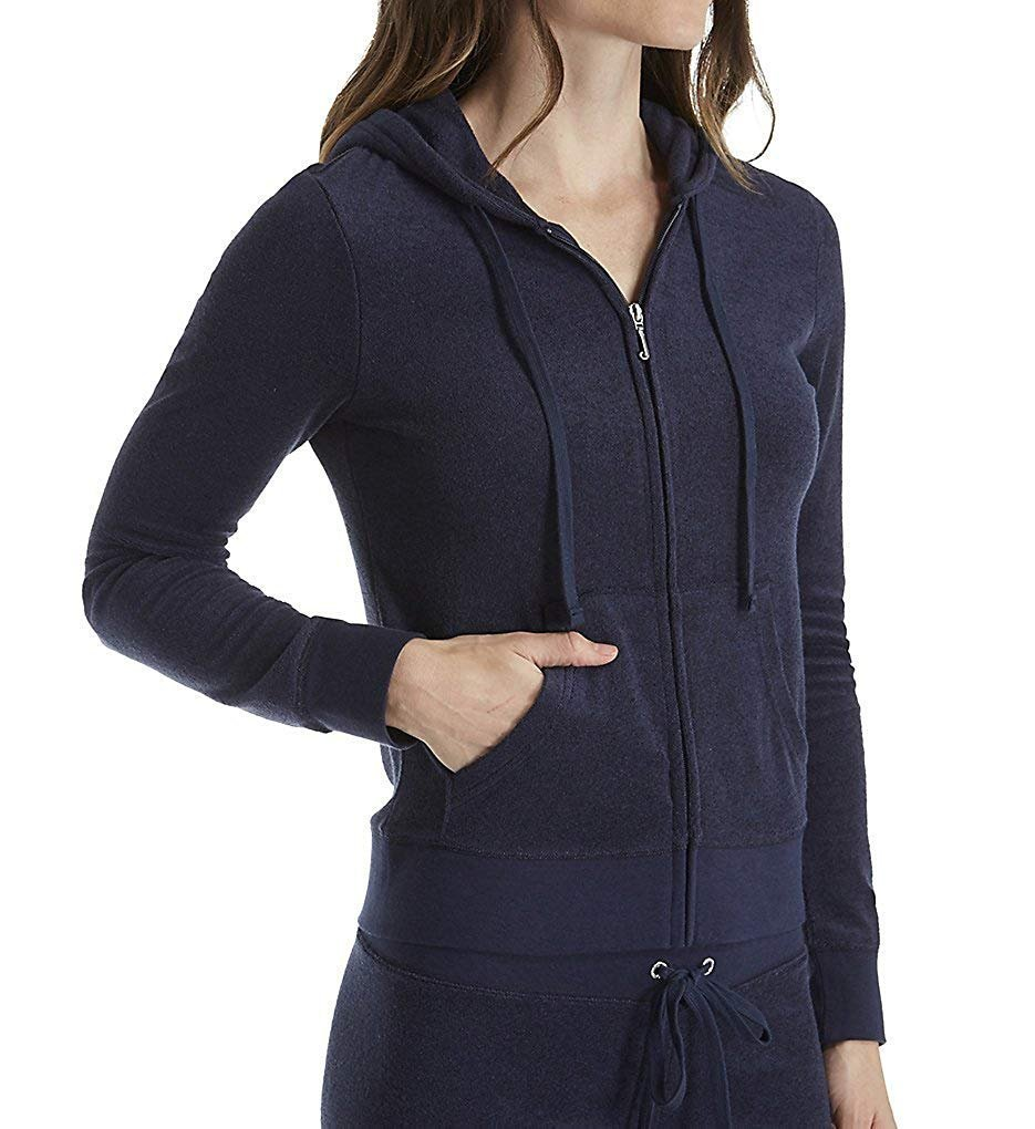 Juicy Couture Womens French Terry Full-Zip Hoodie Blue XS