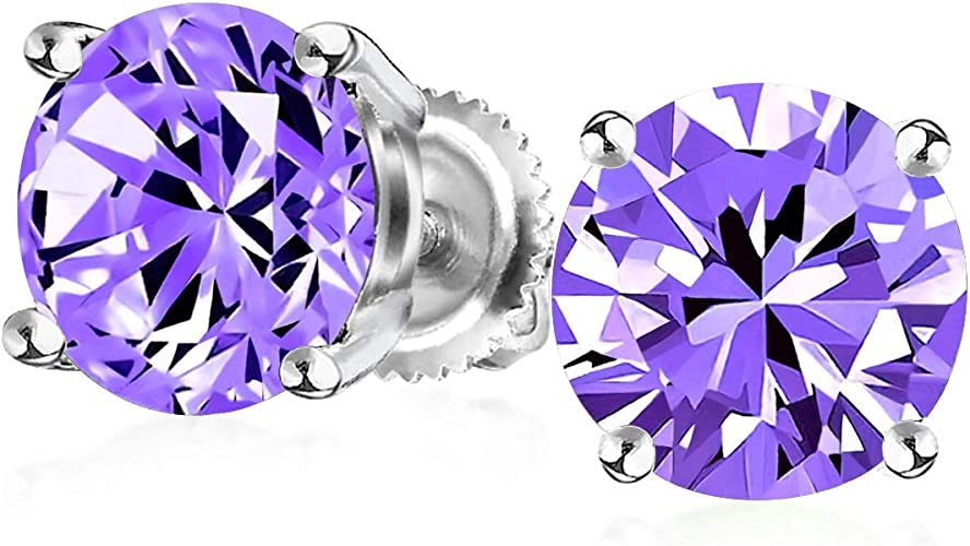 1Ct Purple Round Cubic Zirconia Brilliant Cut Solitaire AAA CZ Stud Earrings 925 Sterling Silver Simulated Amethyst 7MM